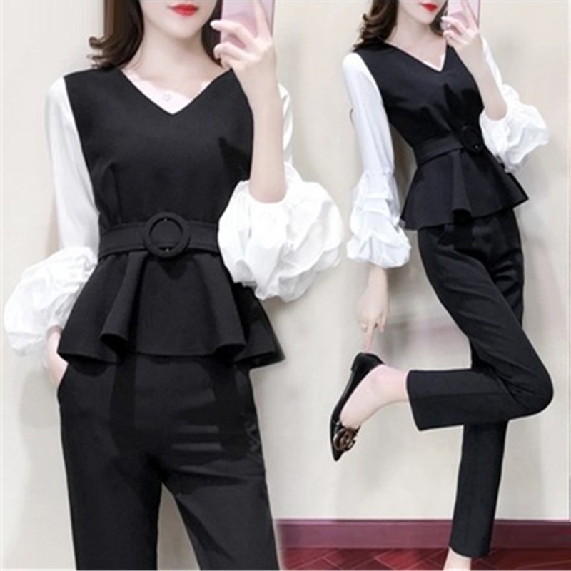 Black Two Piece Set Women Puff Sleeve Tops With Belt+pants Sets Spring Autumn Casual Office Elegant 2 Piece Set Women's Clothing