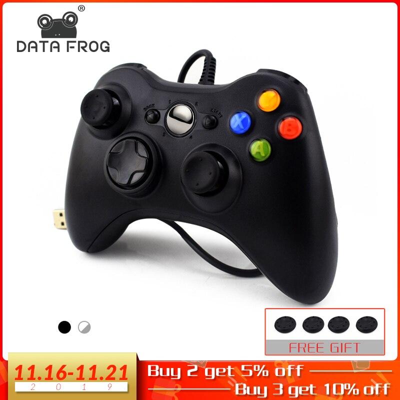 Usb com fio usb do sapo de dados gamepad para xbox 360/controlador magro para windows 7/8/10 suporte do controlador de microsoft pc para o jogo do vapor