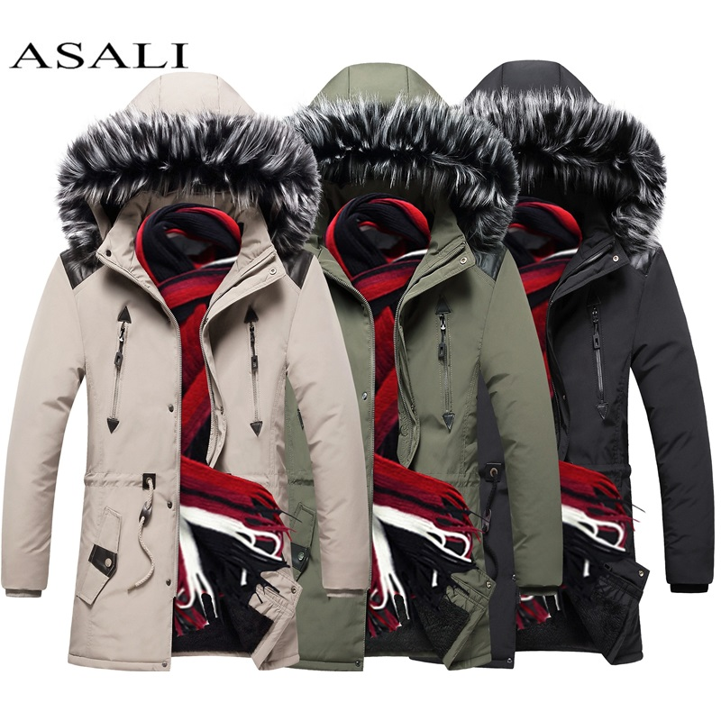 2019 Winter Jacket Men Long Fur Collar Hooded Parka For Men Thick Warm Army Military Tactical Windproof Outerwear Sports Coat