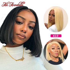 Blonde Lace Front Wig Short BobStraightLaceFrontHuman Hair Wigs Ali Annabelle Peruvian 613 Blonde Human Hair Wigs