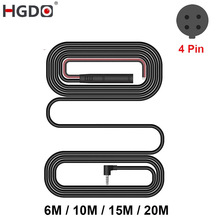 HGDO 4pin 2.5mm jack RCA Video extension Cable 12&24V 6M/10M/15M/ 20M For Rear View Camera Wire Car DVR Camera Mirror Cable