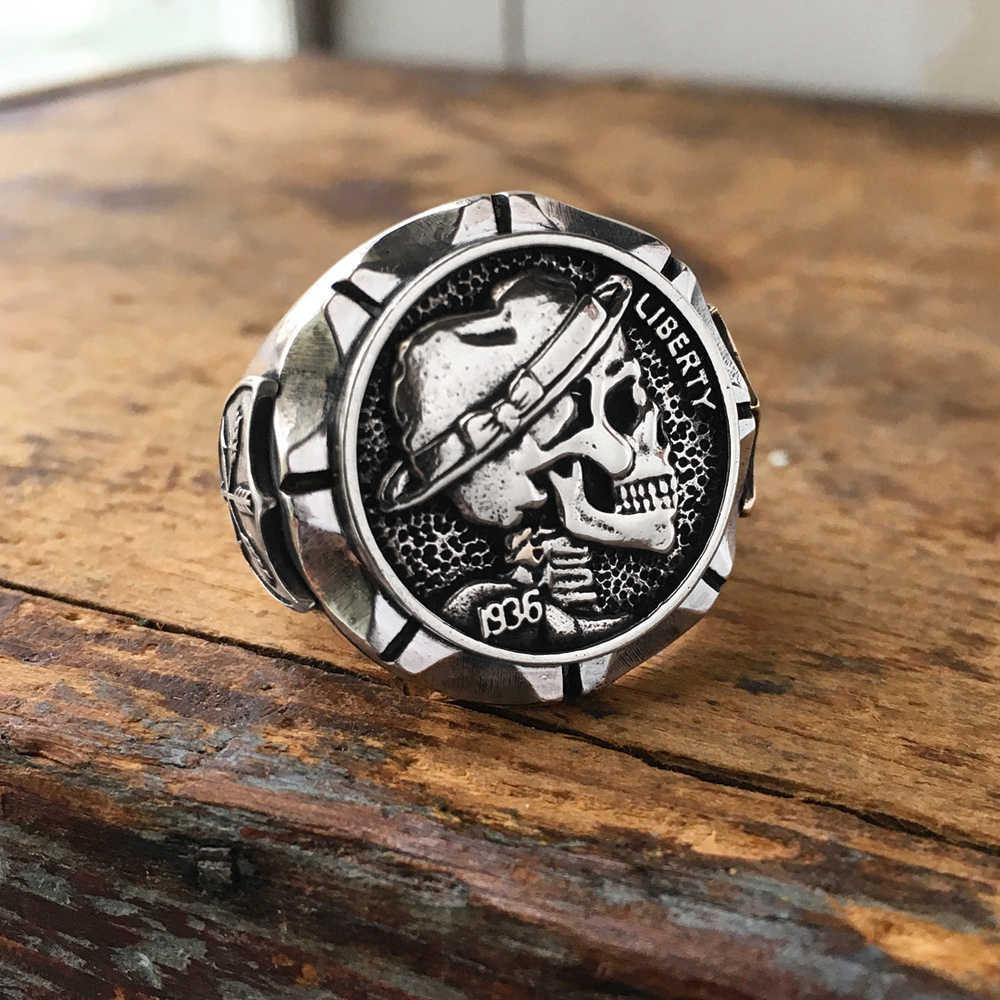 EYHIMD Hobo níquel Brave Skull anillos para hombre estilo motorista indio mexicano moneda plata anillo de acero inoxidable regalo para él