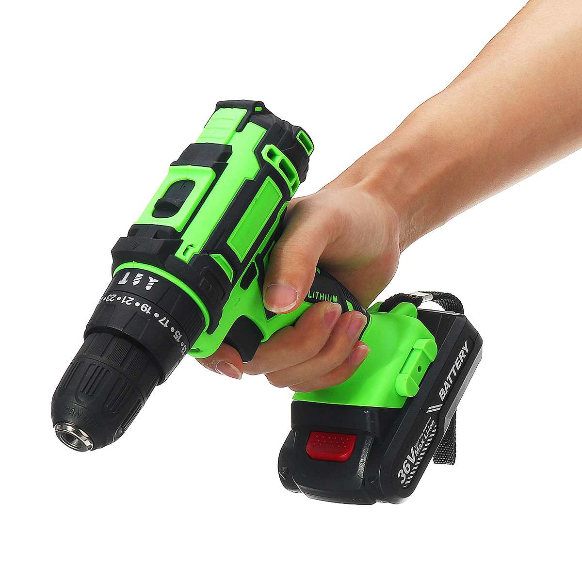 25+3 Torque 36V Cordless Electric Screwdriver Drill LED Working Light DIY Home Hand Flat Drill Power Tools Li-ion Battery