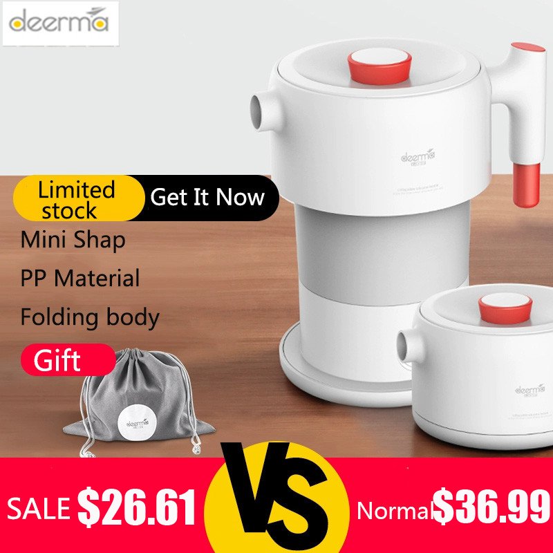 Deerma Electric Kettle Folding Water Kettle Smart Flask Pot Auto Power-Off Protection 0.6L Kettle Teapot For Travel Home