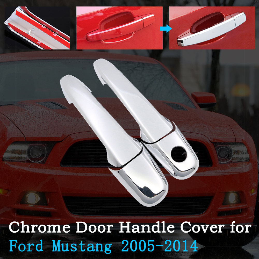 Chrome Car Door Handle Cover for Ford <font><b>Mustang</b></font> Shelby <font><b>GT</b></font> GT500 2005~2014 Trim Set Exterior Accessories <font><b>2006</b></font> 2008 2010 2012 2013 image