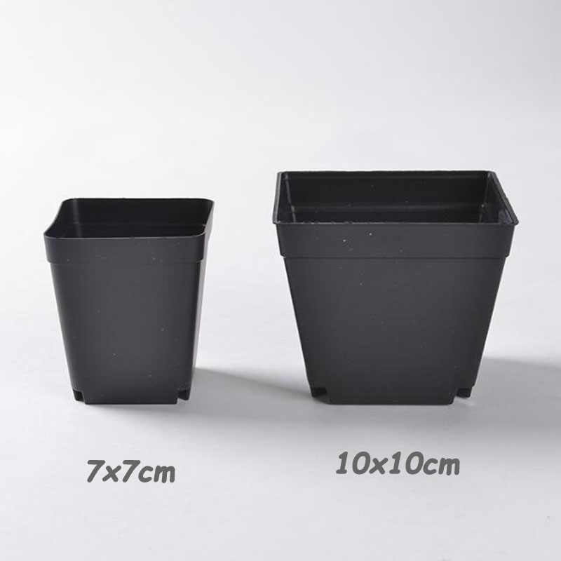 Black Flower Pots Planters 10pcs Trays Plastic Creative Succulent Garden Tool