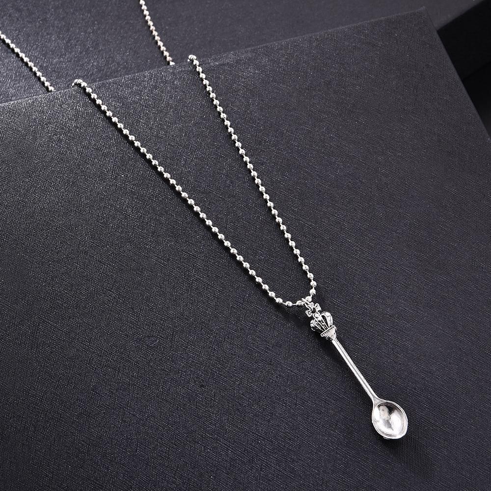 Fashion Women Men Crown Mini Tea Spoon Shape Pendant Long Chain Necklace Sweater Metal Chain Necklace Jewelry