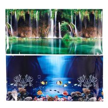 Promotion Blue Fresh Sea Background Aquarium Ocean Landscape Poster Fish Tank Background(China)