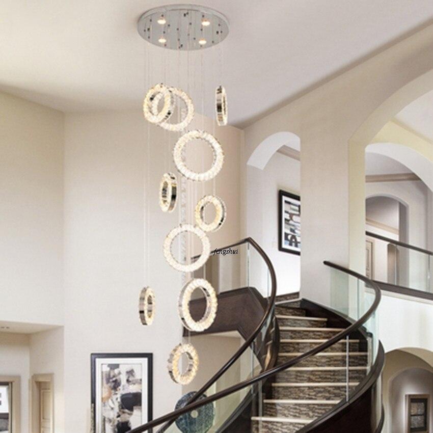 Скандинавский светодиодный светильник с кристаллами, длинная Подвесная лампа, индивидуальная дуплексная вилла, спиральная лестница, Свети...