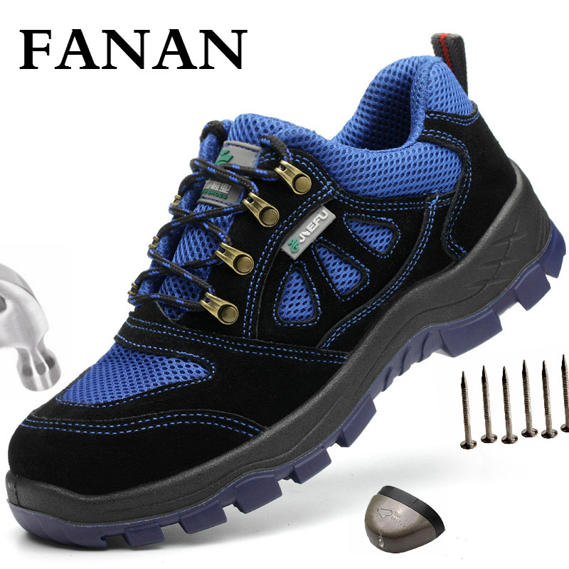 FANAN Men's Steel Toe Work Safety Shoes Indestructible Steel Toe Anti-smashing Outdoor Working Protective Shoes  Free shipping