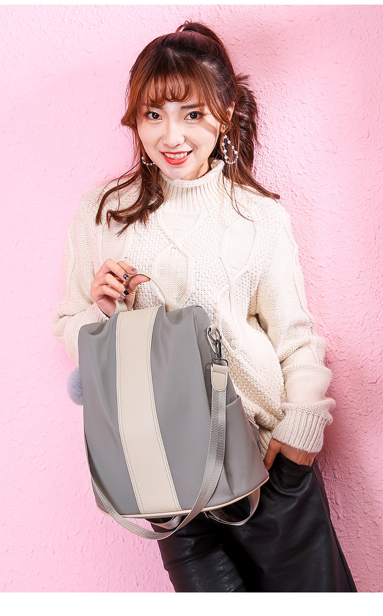 Sac à dos femme anti-vol classique gris blanc patchwork sac à dos pour femmes mode sac à bandoulière