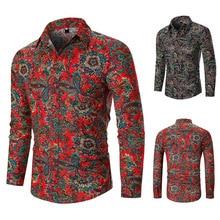 Shirt Man, European Fashion Shirt, Floral Lapel Long Sleeve Mens Shirts  Hawaiian