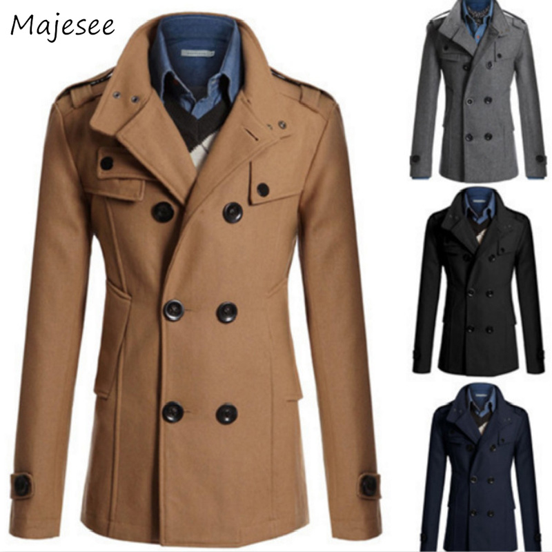 Wool Men Winter Double Breasted Slim Turn-down Collar Woolen Warm Button Coat Mens Large Size Korean Simple All-match Outerwear