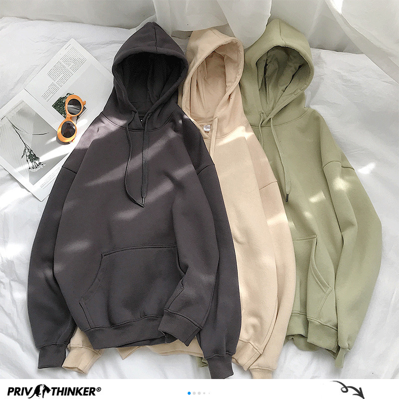 Privathinker Woman's Sweatshirts Solid 12 Colors Korean Female Hooded Pullovers 2020 Cotton Thicken Warm Oversized Hoodies Women 1