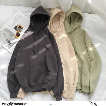 Privathinker bluzy damskie stałe 12 kolory koreański kobiet swetry z kapturem 2020 bawełna zagęścić ciepłe ponadgabarytowych bluzy kobiet tanie i dobre opinie COTTON Poliester CN (pochodzenie) REGULAR Pełna Suknem Casual Oversize Sweatshirts 0 66kg WOMEN Na co dzień O-neck Chinese Traditional Clothes Costumes
