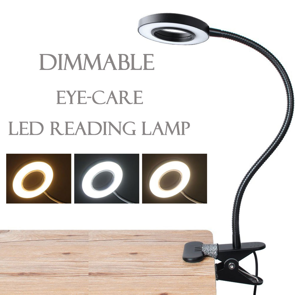 Dimmable USB LED Desk Lamp With Clamp Reading Light Eye-Care Table Lamp LED Bedside Lamp Baby Older Kids Night Light Clip