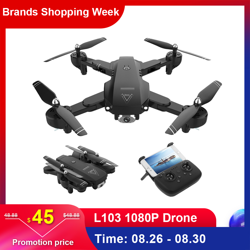 L103 RC Drone With 1080P Camera Wifi FPV Optical Flow Position Smart Follow Foldable RC Helicopter Quadcopter 22 Min Flying Time
