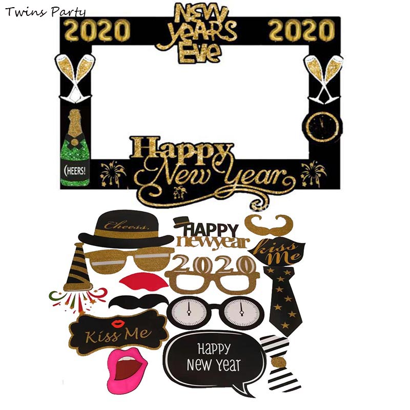 Twins Party 2020 Happy New Year Photo Booth Props Eve Photography Frame  Xmas Decoration