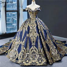 Blue Gold High end Sequined Luxury Wedding Dresses 2020 Off Shoulder Sexy Lace Up Bridal Gowns Serene Hill HM67025
