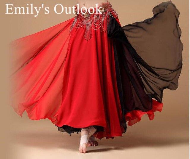Bayan göbek dans eteği 2 renkler moda Bohemia çingene Maxi etek dansçı uygulama elbise egzotik giyim siyah kırmızı karışık
