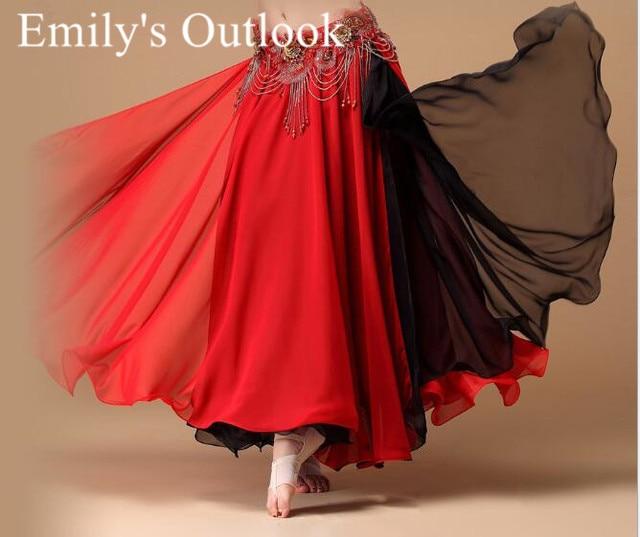 Falda de danza del vientre para mujer, falda Maxi Bohemia gitana de moda en 2 colores, ropa de práctica de bailarina, Ropa de baile exótica mezclada en negro y rojo