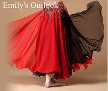 Mulheres saia de dança do ventre 2 cores vogue boêmia cigano maxi saia dançarina prática roupas exóticas dancewear preto vermelho misturado