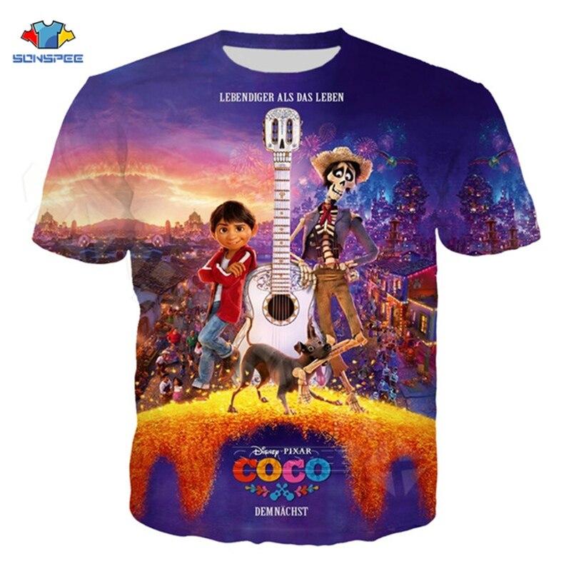 SONSPEE Casual Cartoon Movie Pixar Coco Funny T Shirt Men Women 3D Print Sportswear Short Sleeve Music Streetwear T Shirt Tops