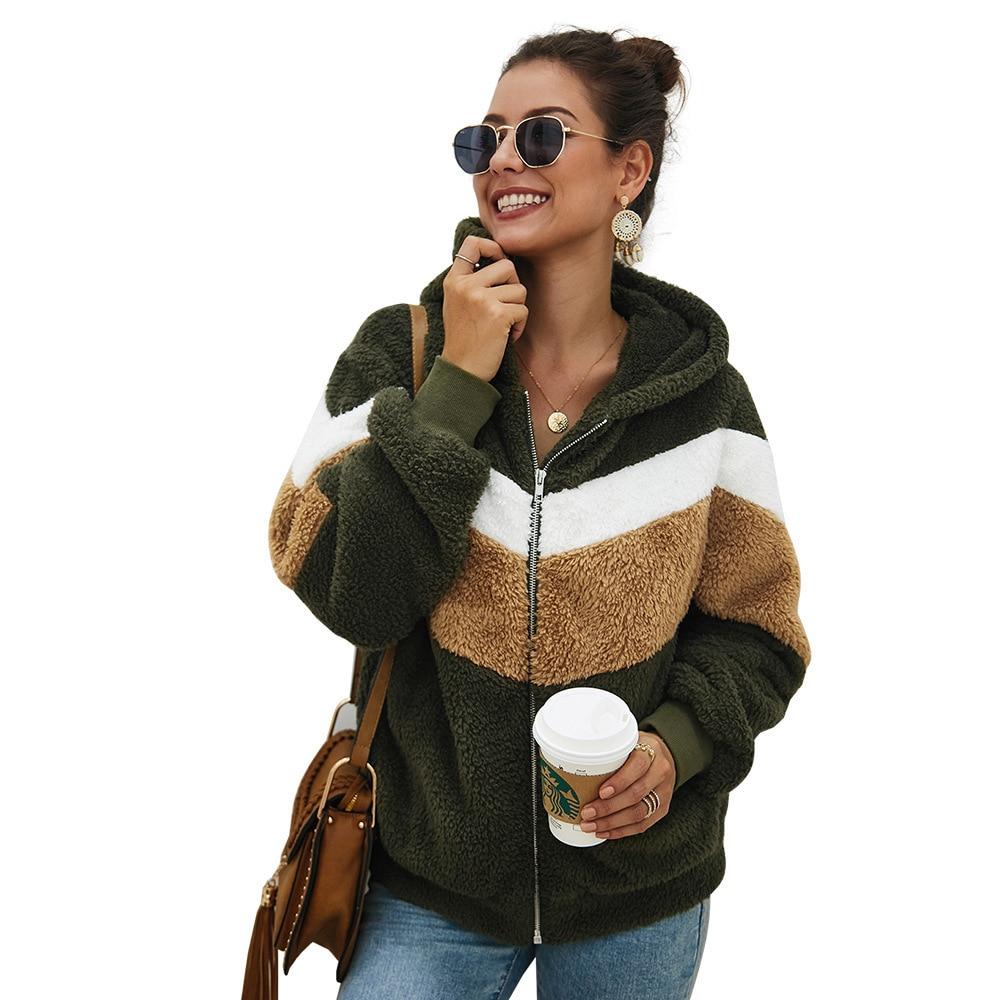 Casual Faux Fur Sweatshirt Women Hooded Striped Long Sleeve Zip up Teddy Cozy Hoodies Ladies Thick Warm Autumn Streetwear 2019 in Hoodies amp Sweatshirts from Women 39 s Clothing