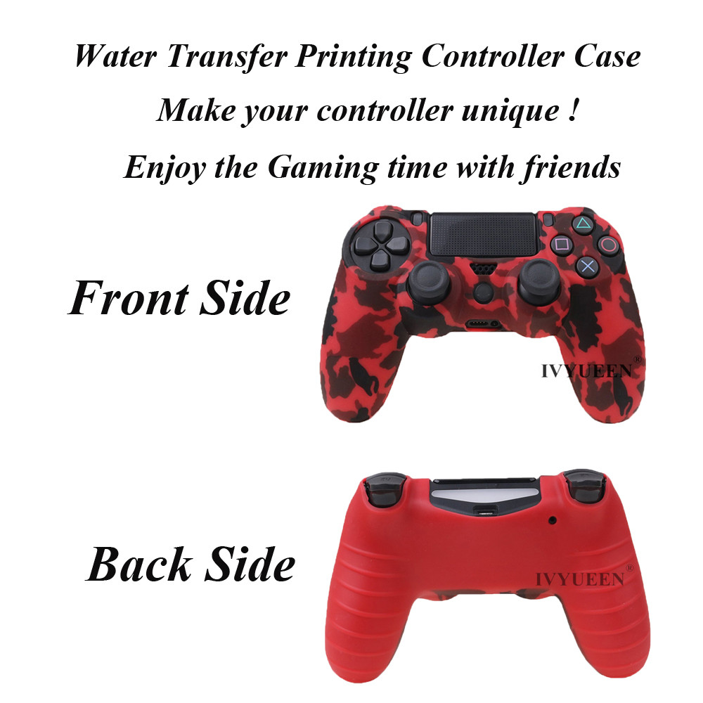 IVYUEEN 44 Colors Silicone Camo Protective Skin Case For Sony Dualshock 4 PS4 DS4 Pro Slim Controller Thumb Grips Joystick Caps 5