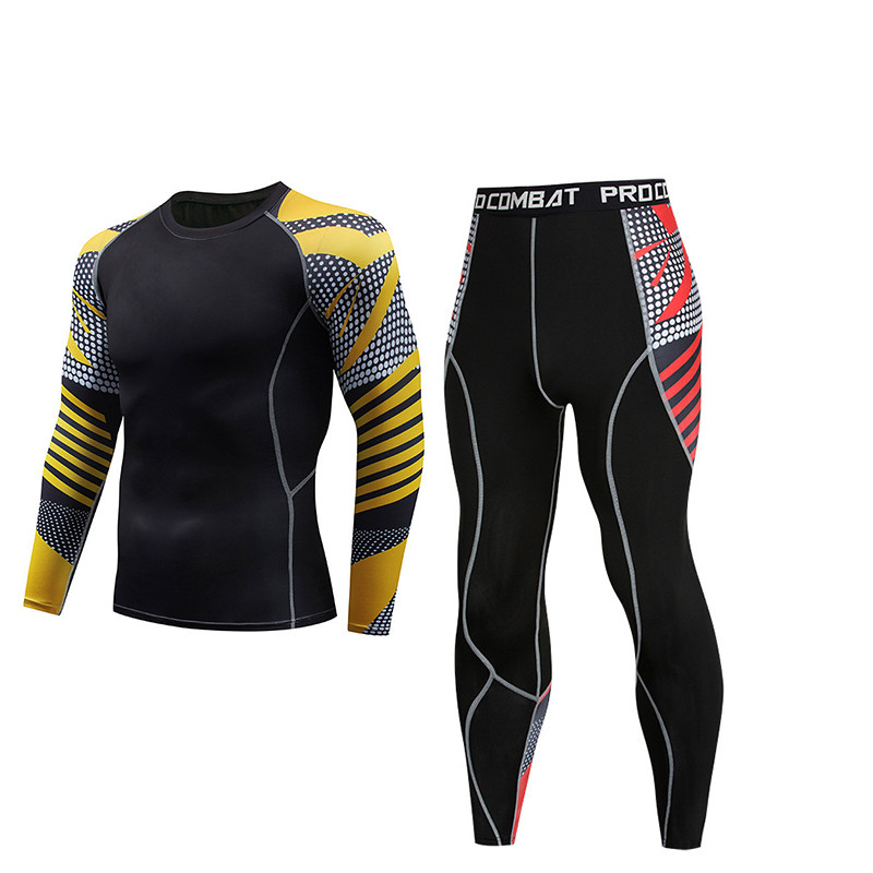Men's compression fitness tights sportswear suit sports running windbreaker training suit jogging sportswear quick-drying 2 sets