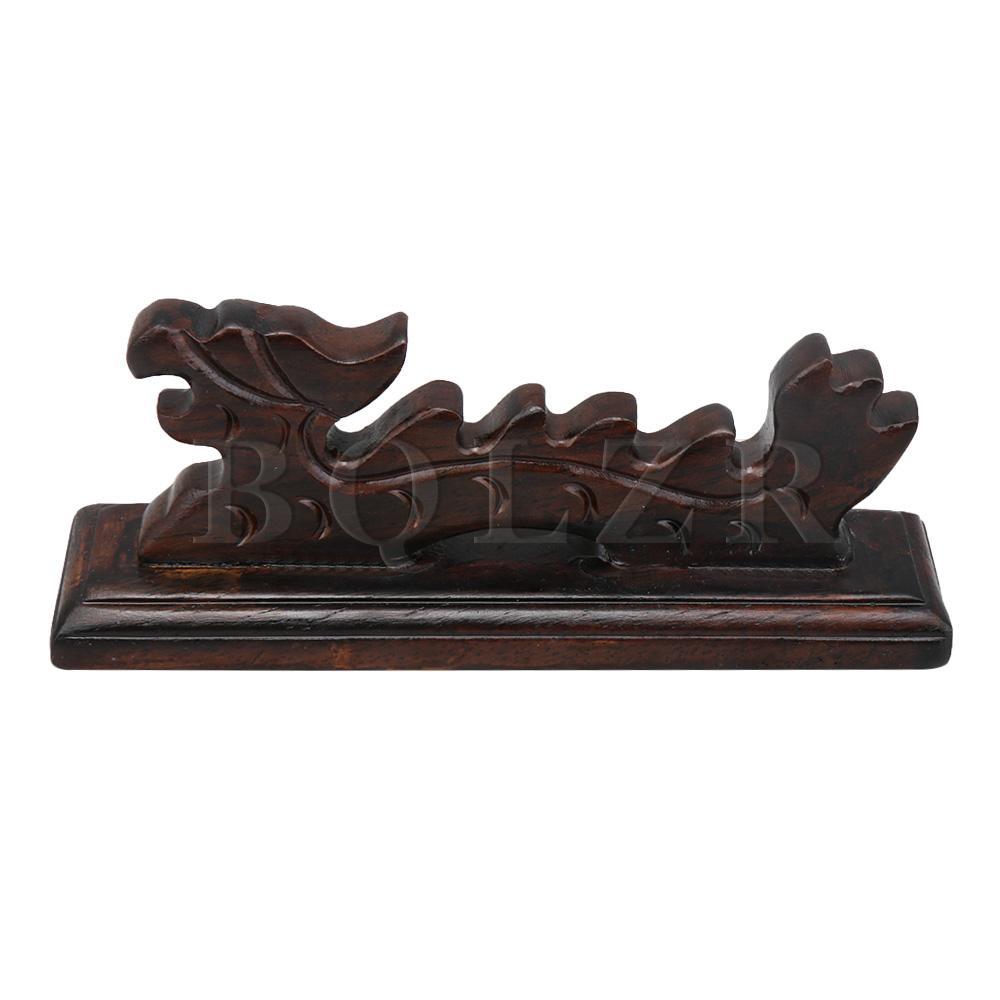 BQLZR Wooden Painting Writing Brush Holder Stand Dragon Shape Calligraphy Rack