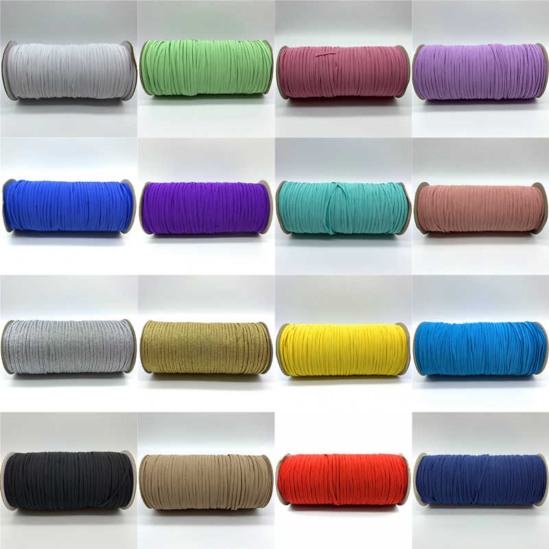 5 m/lot 3mm szycie gumką kolorowe wysokie elastyczne Fiat gumowa opaska na pas zespół rozciągliwa linka elastyczna wstążka