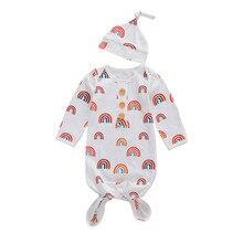 2020 Newborn Baby Boys Girls Long Sleeve Rainbow Print Sleeping Bag Nightwear Blanket Swaddle Wrap Bedding Clothes Hat Outfits