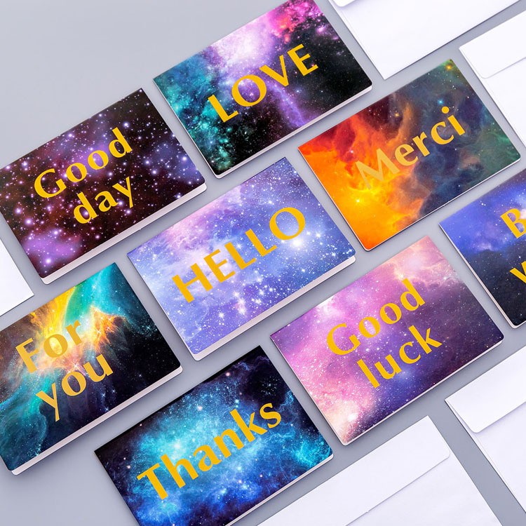 5 Pcs/pack Romantic Starry Sky Gilding Greeting Card Envelope Message Card Letter Stationary Storage Paper Gift