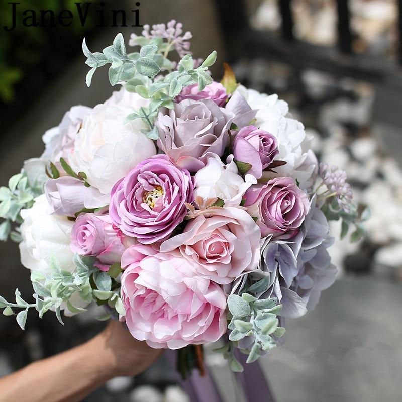 JaneVini Ins Vintage mariage Fleur Bouquet violet Rose Fleur artificielle demoiselles d'honneur mariée Bouquets pivoine Bouquet Mariee