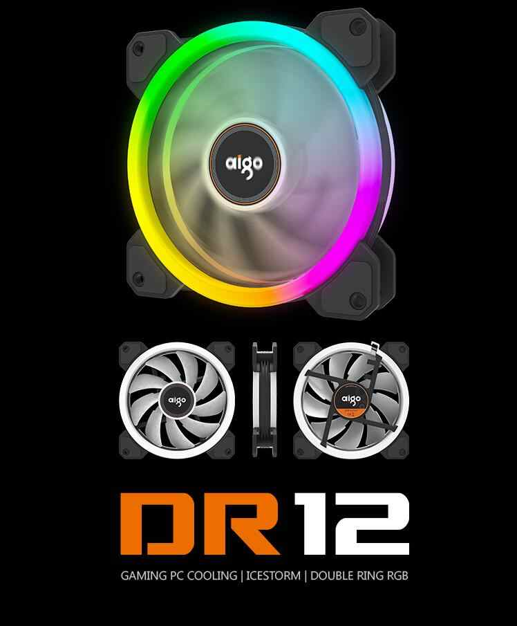 Aigo DR12 coque d'ordinateur PC ventilateur de refroidissement barre lumineuse rvb ajuster LED 120mm silencieux + IR refroidisseur à distance ventilateur led lumières bandes de lampe