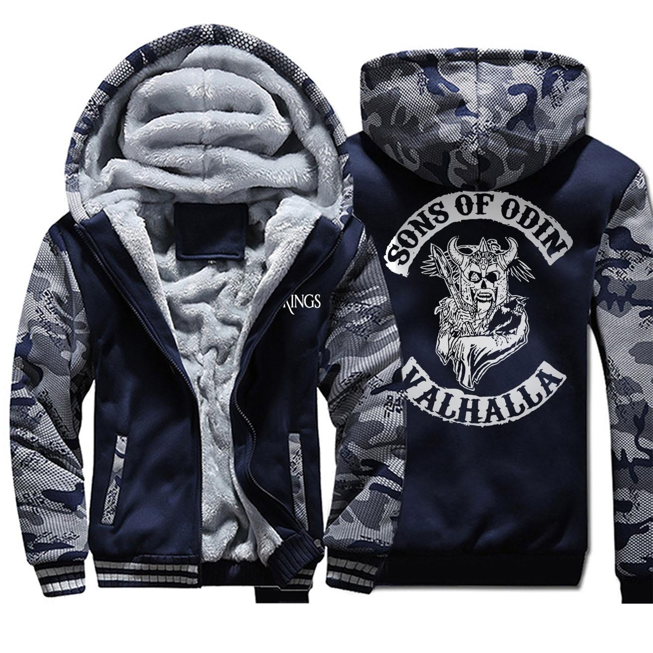 Sons Of Odin TV Show Vikings Valhalla Men Hoodies 2019 Winter Casual Camo Hoodies Warm Fleece Men's Fashion Zipper Jackets
