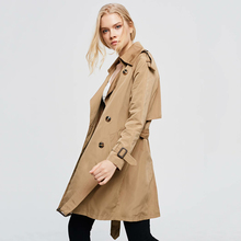 Vintage women double-breasted trench coats 2019 fashion ladies autumn-winter ele