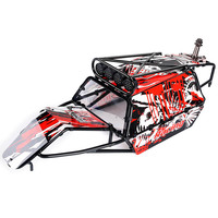 GT Roll Cage Body Shell with Spare Tire Carrier and Lamp Bracket for HPI 5B Baja GT Upgrade Parts Red Color