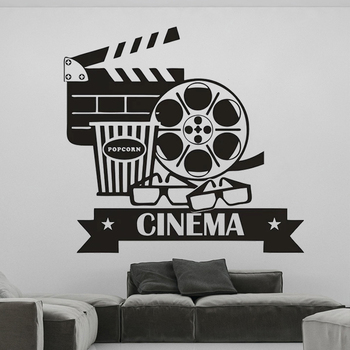 Stickers For Cinematography Cinema Room Wall Decal Decoration Removable Movie Space Popcorn Vinyl Poster Livingroom Decor HQ1003 image