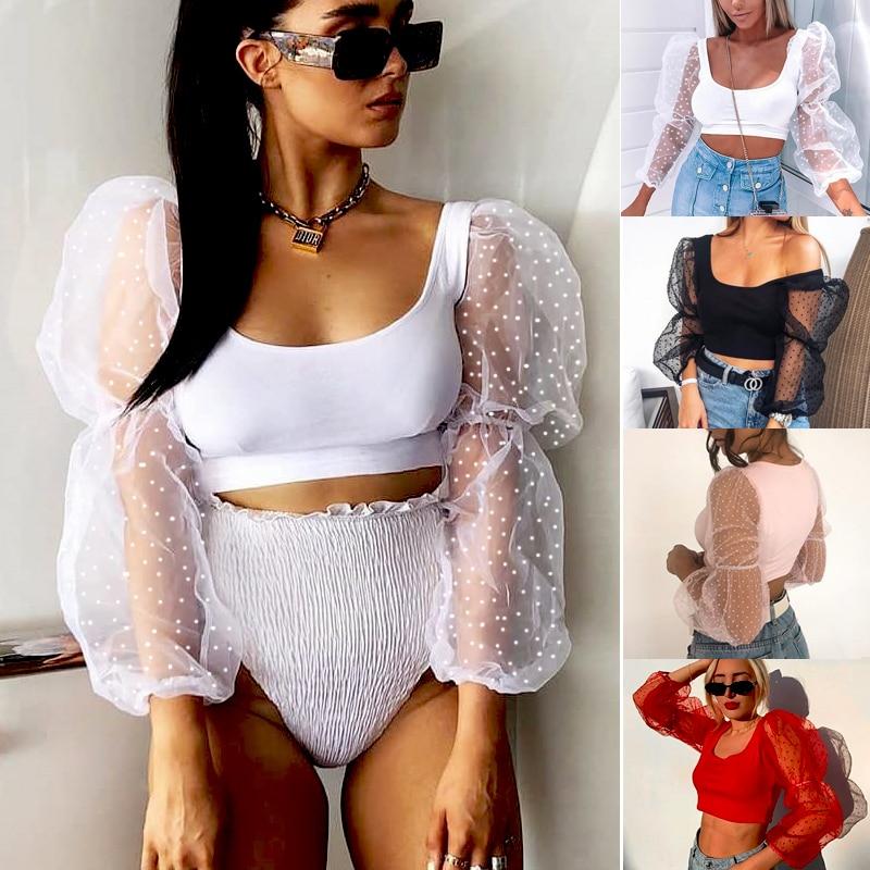 Women Polka Dot Print Cropped Tops See Through T-shirts Mesh Puff Sleeve Blouse