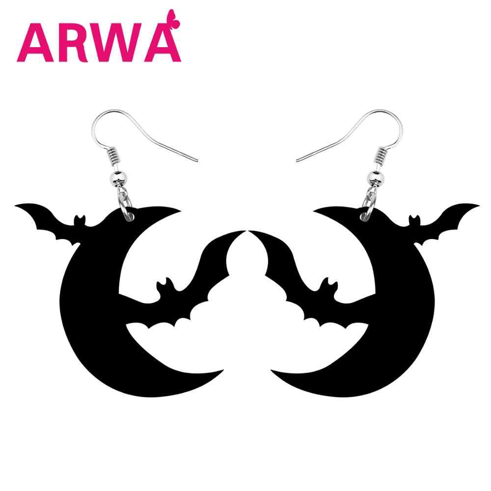 ARWA อะคริลิคฮาโลวีน Hollow Black Bat Moon ต่างหู Drop Dangle วัยรุ่น Charm ของขวัญเทศกาล Novelty อุปกรณ์เสริม 2019 ใหม่