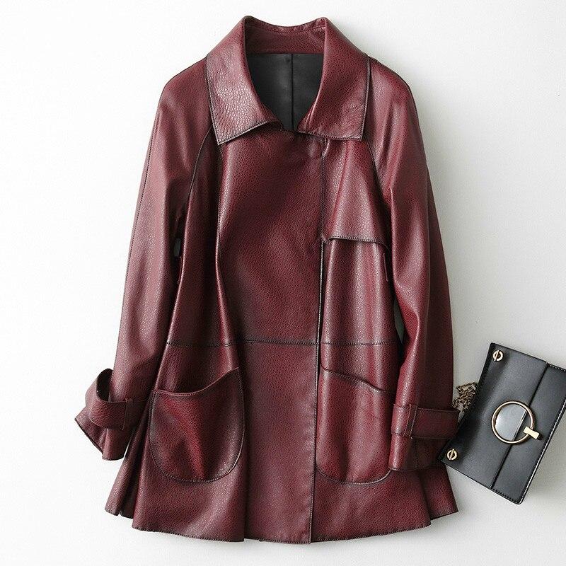 Genuine New 2020 Leather Jacket Women Spring Autumn Jackets Long Slim 100% Real Sheepskin Coat Streetwear Female 29054         S