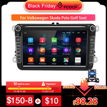 Podofo 2 Din Android Car Radio GPS 2 DIN Autoradio Car Multimedia player for VW Volkswagen Polo Skoda Seat Toledo Car Stereo image