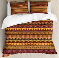 African Duvet Cover Set Exotic Culture Folkloric Eye Triangle Rhombus and Diamond Shapes Ethnic Decorative 3 Piece Bedding Set|Duvet Cover|   -