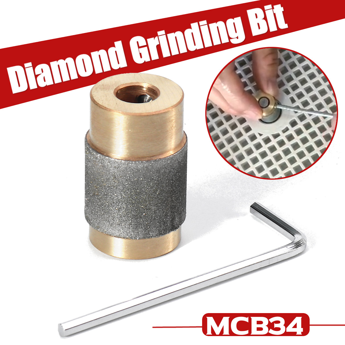 3/4 Inch MCB34 Grinding Bit Brass Core Standard Grit Stained Stained Glass Grinder Head Diamond Copper Grinder