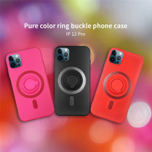 Original Offizielle Silikon Magnetische Fall für iPhone 12 mini Pro Max Magsafe Luxus Drahtlose Lade Abdeckung Plain Finger Ring Funda