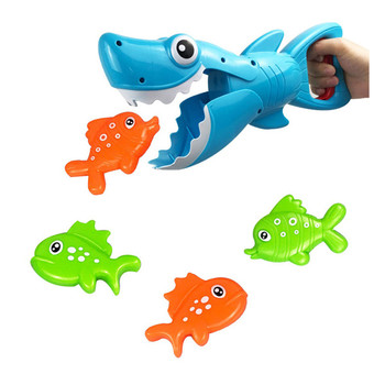 1 Set Shark Grabber Bath Toy for Boys Girls Catch Game with 4 Fishes Bathtub Fishing 1