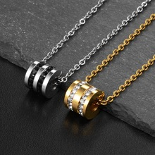 Cylindrical Zircon Pendant Necklace HipHop Stainless Steel Material Chain Trendy Women Fashion Jewelry
