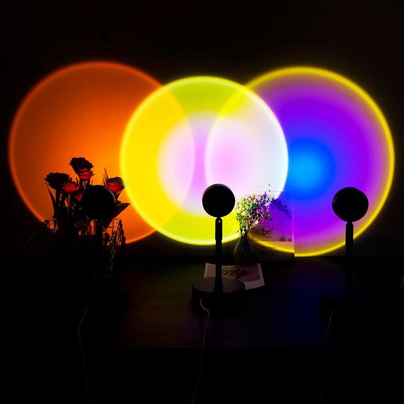 Закат Радуга проектор ночной Светильник s Usb прикроватная настольная лампа подарки на день Святого Валентина, большое ожерельес лампы Спаль...